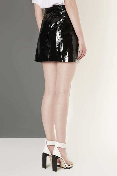 topshop patent leather a line skirt by boutique in black