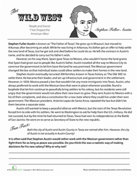 printables history worksheets for 4th grade