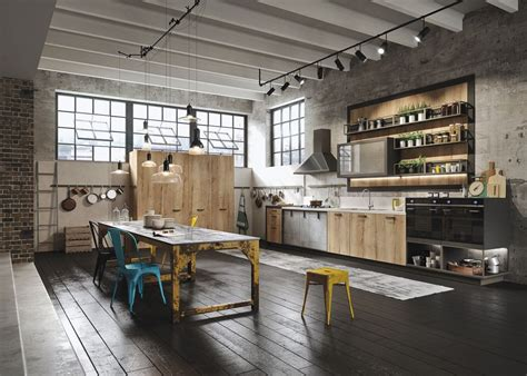 Loft Kitchen Ideas | industiral and rustic loft kitchen by snaidero digsdigs