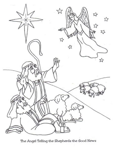 angels visit shepherds coloring page christmas angel coloring pages sdrasia org angels tell