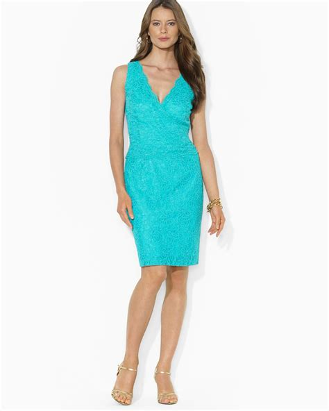 Lawren Dress lyst ralph dress sleeveless v neck lace
