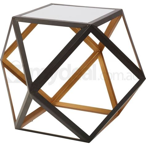 Geometric Side Table Ashton Black And Gold Mirrored Geometric Side Table Buy Tables