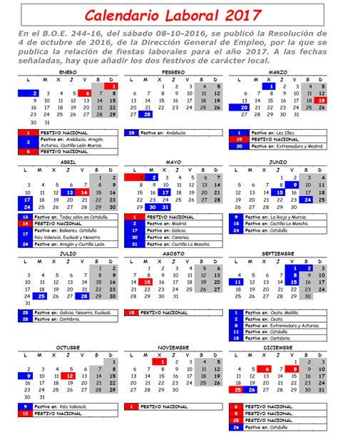 Calendario 2017 Laboral Feccoocyl Calendario Laboral 2017