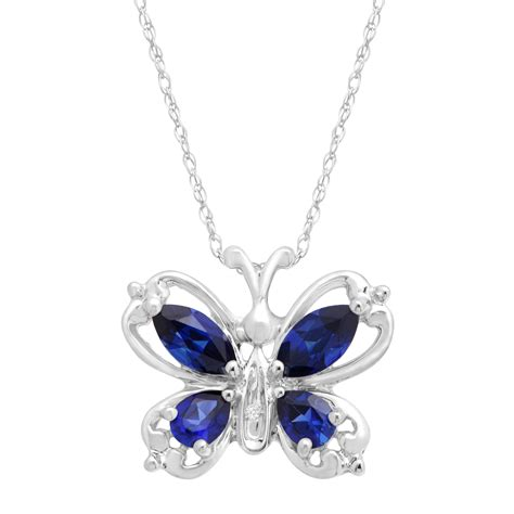 jewelry with 1 ct created sapphire butterfly pendant necklace with