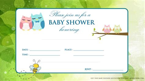 printable baby shower free printable baby owl baby shower invitation free