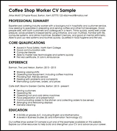 Good Job Objectives For A Resume by Coffee Shop Worker Cv Sample Myperfectcv