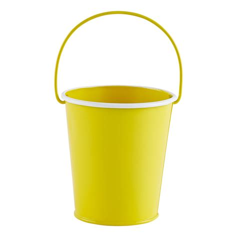 Yellow Pail Tin small metal pail the container store
