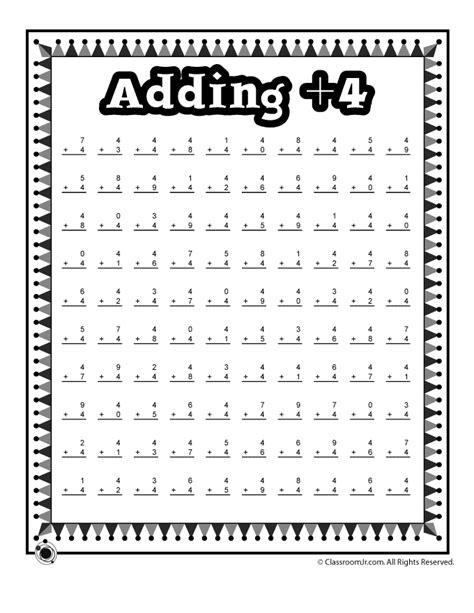 new year addition activities adding 4 math worksheet woo jr activities