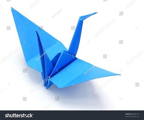 Blue Origami Paper - blue origami paper crane stock photo 80869138