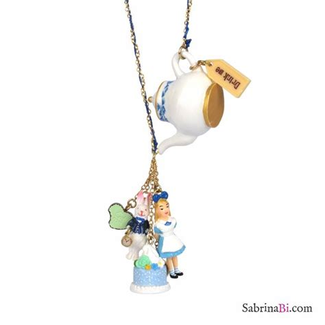 Alice in Wonderland teapot with charms long necklace   N2 Les Nereides   SabrinaBi