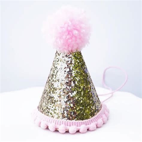 gold glitter sparkles pink st birthday girl cone hat party toddler  le petit pain