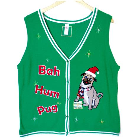pug sweater bah hum pug tacky sweater vest the sweater shop