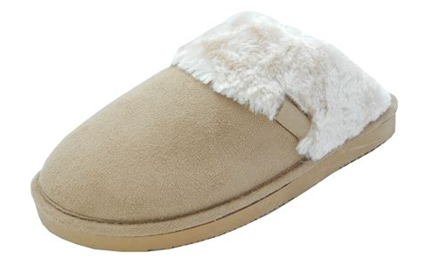 fluffy house slippers womens ladies soft fluffy luxury fur mules slippers brown