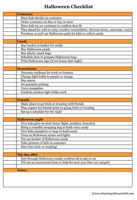 Halloween Checklist You Can't Miss   Running A Household