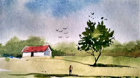 Landscape Paintings How To Simple Watercolor Landscape Painting Watercolor Painting