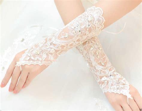 free size fingerless sequins short bridal