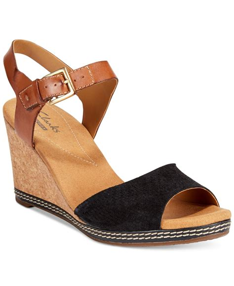 clarks wedge sandal clarks collection s helio jet wedge sandals in black