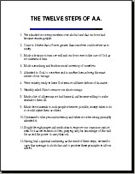printable version of aa 12 steps image gallery 12 step printable