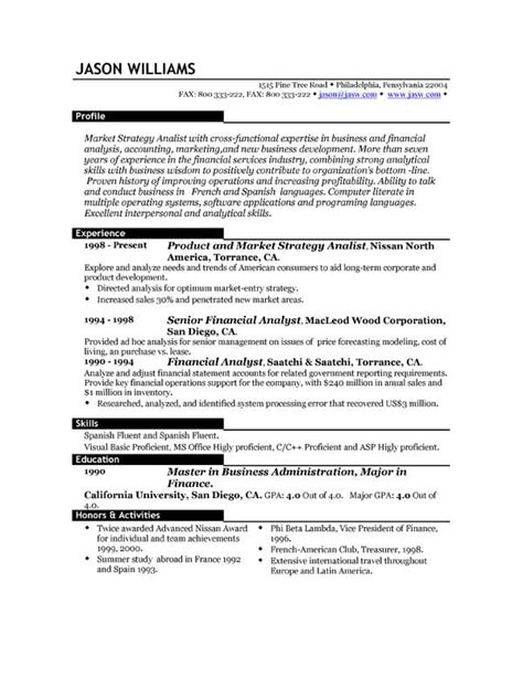 Resume Layout Exles by Sle Resume 85 Free Sle Resumes By Easyjob Sle