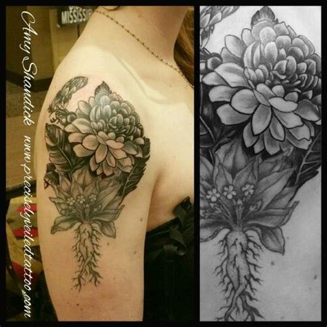 precisely veiled tattoo dahlia flower black and gray girly shoulder deltoid fusion