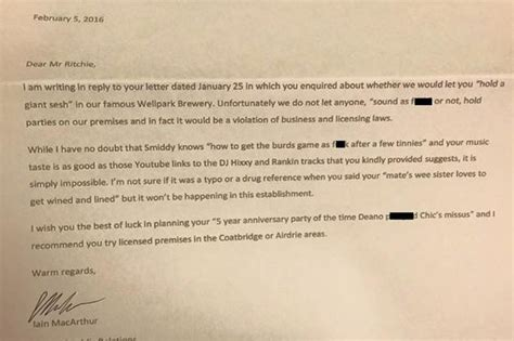 hilarious up letter goes viral hilarious tennent s lager letter to customer asking for