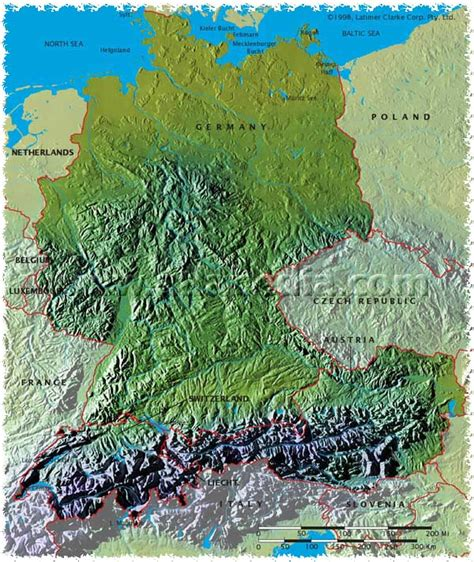 germany physical map map archive physical map of germany