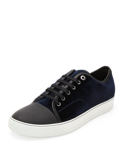blue lanvin sneakers lanvin velvet low top sneakers in blue for lyst