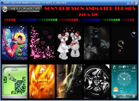 themes download sony download sony ericsson animated themes in catalog