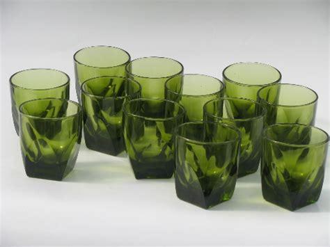 Kitchen Bar Furniture Heavy Old Fashioned Rocks Glasses 70s Retro Green Glass