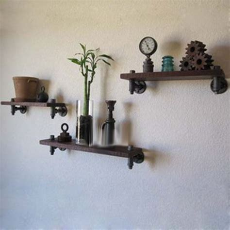 american retro wood wrought iron wall shelf shelving rack