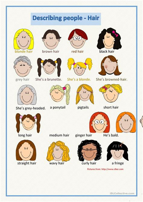 hair style esl describing people hair worksheet free esl printable