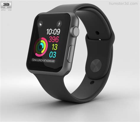 Apple 2 Series 1 42mm Space Grey Aluminium With Black Sport Band apple series 2 42mm space gray aluminum black sport band 3d model hum3d