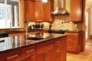 Cherry Finish Kitchen Cabinets Island Area Custom Cherry Cabinets With Finish