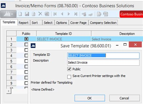 dynamics sl how to create a template to print for