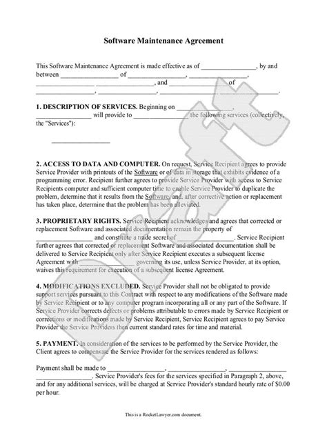 software maintenance agreement template with sle