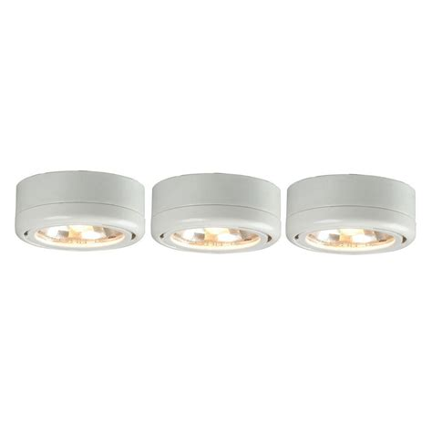 industrial halogen light fixtures commercial electric 3 light white under cabinet puck kit