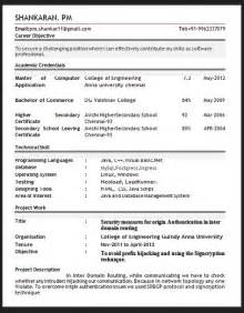 Resume Sample In Pdf by Sample Resume Format February 2016