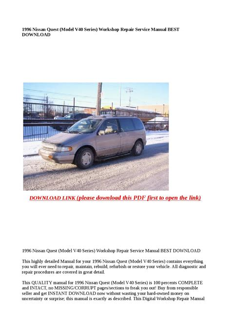 what is the best auto repair manual 1996 dodge ram van 3500 on board diagnostic system 1996 nissan quest model v40 series workshop repair service manual best download by greace