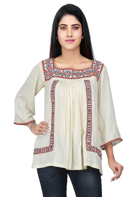 Tunik Rayon 1 embroidered neckline rayon tunic in thu1761