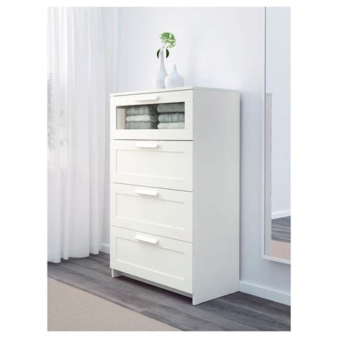 BRIMNES Chest of 4 drawers White/frosted glass 78x124 cm
