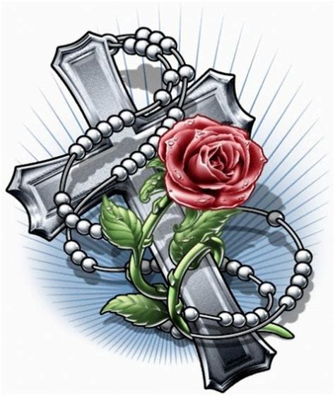 cross and rose tattoo designs cross and rosary designs 187 ideas