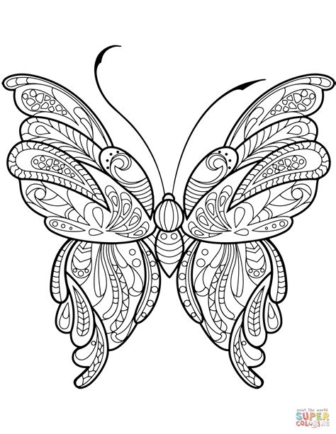 zentangle coloring pages zentangle butterfly coloring page free printable