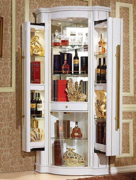 white corner bar cabinet european style modern design white color wooden mini