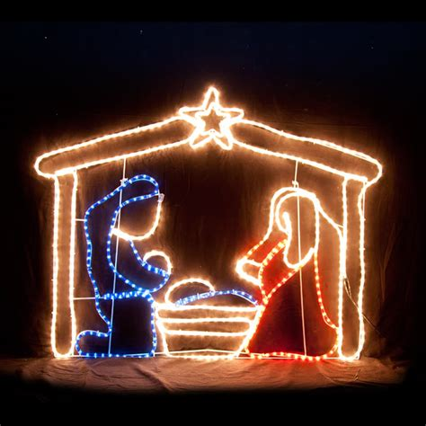 led nativity scene christmas motif rope light display