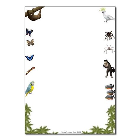 lined paper with rainforest border rainforest themed page border writing frames no lines