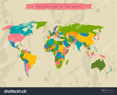 editable world map image editable world map with all countries vector illustration