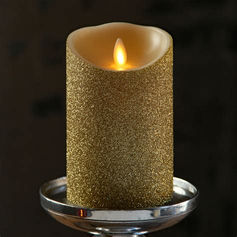 battery operated candles moving gold glitter candle battery operated 3 5 x 5