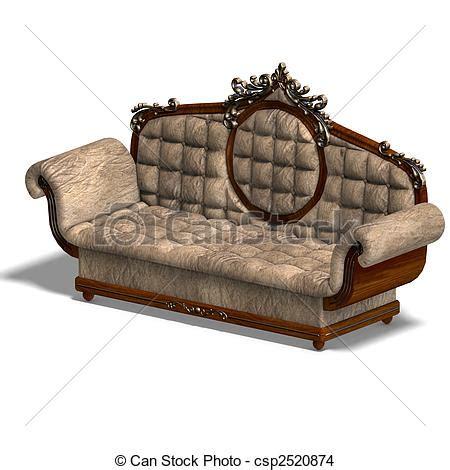 cushy sofa drawing of cushy sofa of louis xv 3d rendering of a