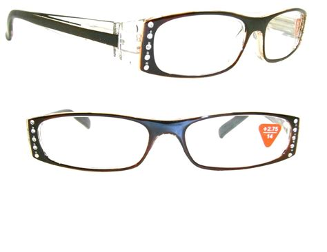 clear frame rhinestone reading glasses brown