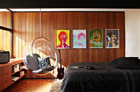 interior stuff bed interior chair bedroom design room beatles wallpaper